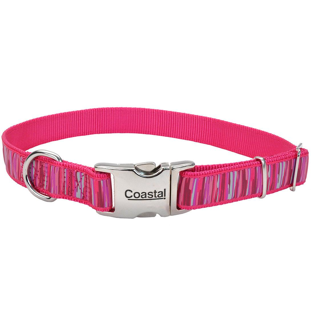 Ribbon Adjustable Collar with Metal Buckle for Dogs, Pink Flamingo Stripe, 5/8-in x 8-12-in