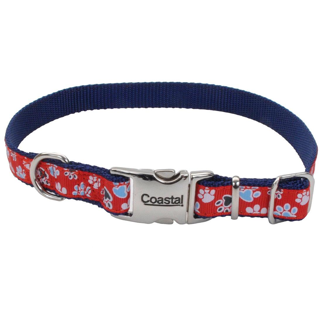 Ribbon Adjustable Collar with Metal Buckle for Dogs, Red with Paws Image