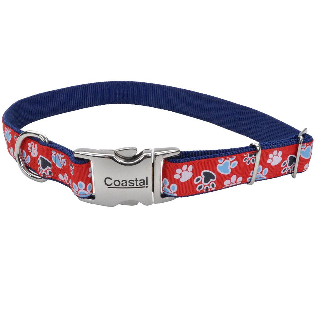 Ribbon Adjustable Collar with Metal Buckle for Dogs, Red with Paws, 1-in x 18-26-in