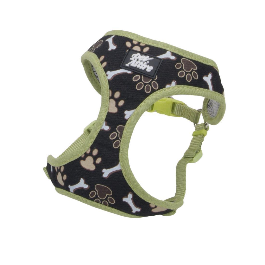 Ribbon Designer Wrap Adjustable Dog Harness, Brown Paws & Bones, 3/8-in x 14-16-in