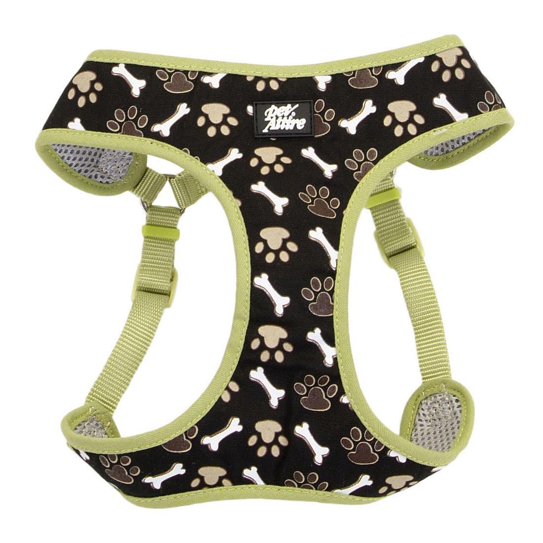 Ribbon Designer Wrap Adjustable Dog Harness, Brown Paws & Bones, 5/8-in x 19-23-in