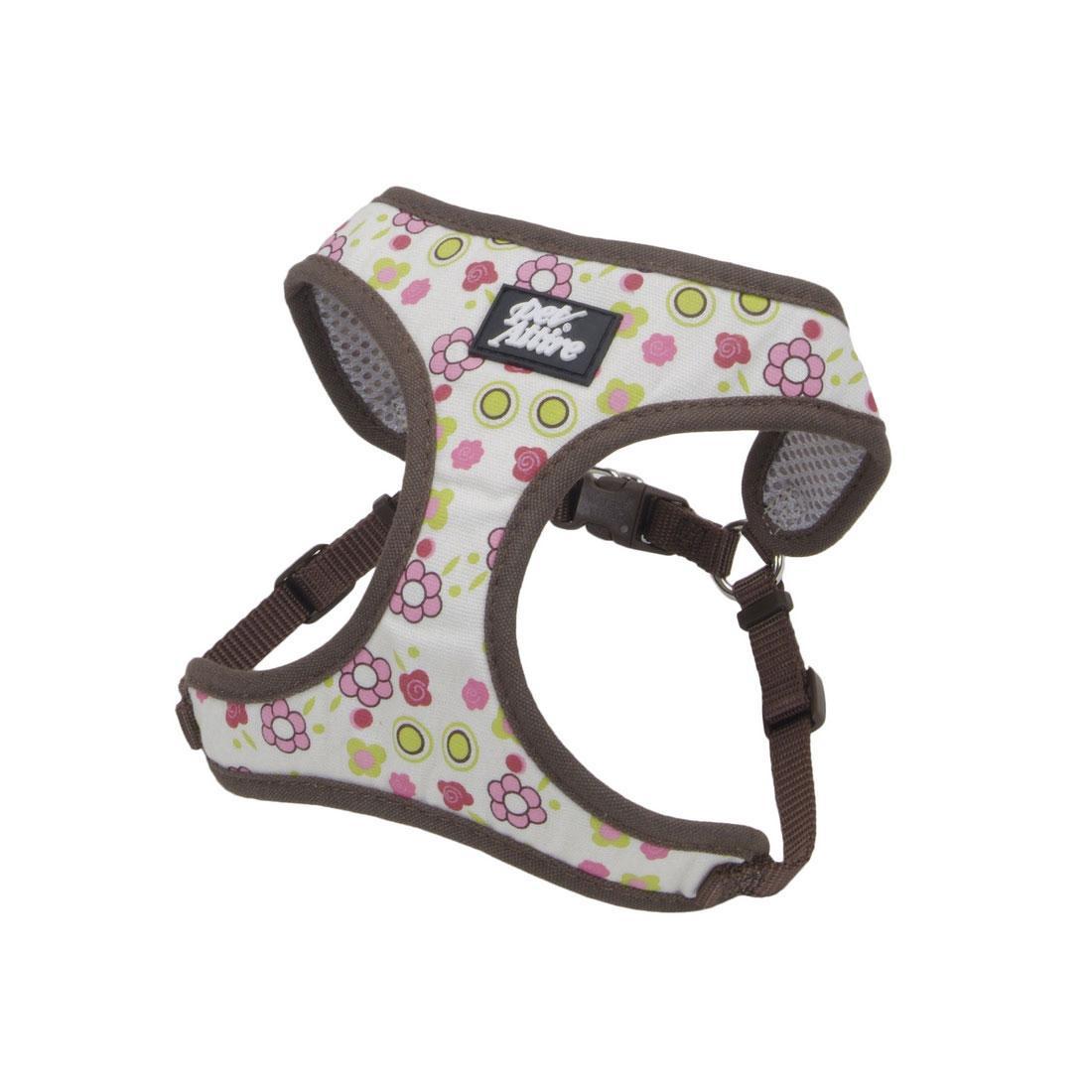 Ribbon Designer Wrap Adjustable Dog Harness, Floral Rose, 3/8-in x 14-16-in