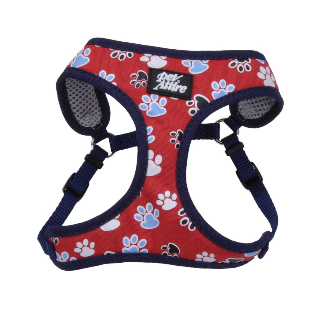 Ribbon Designer Wrap Adjustable Dog Harness, Red with Paws, 3/8-in x 14-16-in