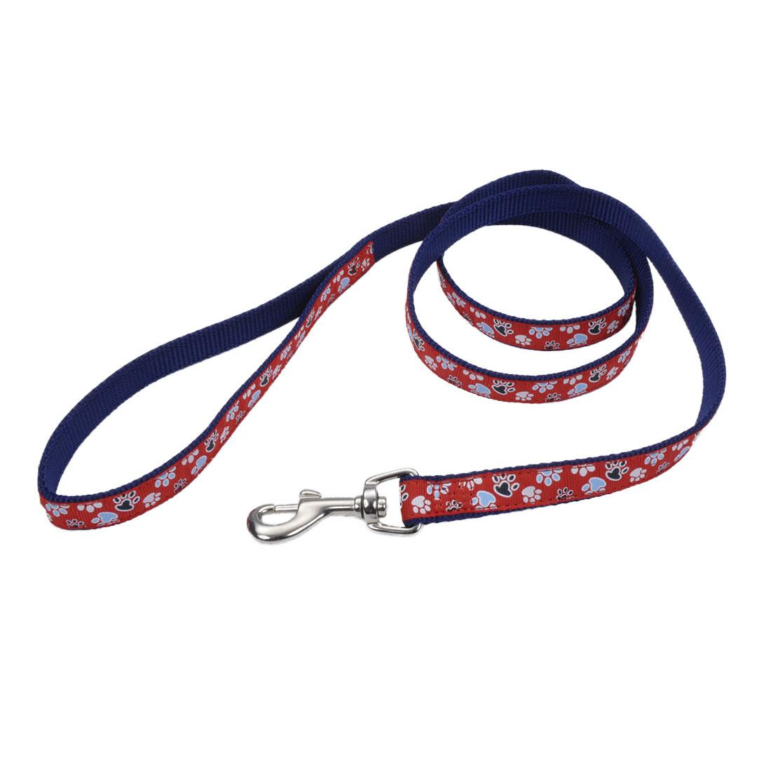 Ribbon Dog Leash, Red with Paws Image