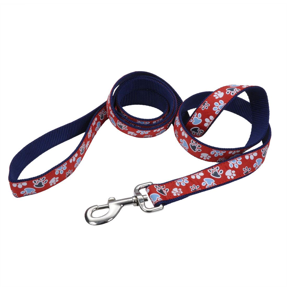 Ribbon Dog Leash, Red with Paws, 1-in x 6-ft