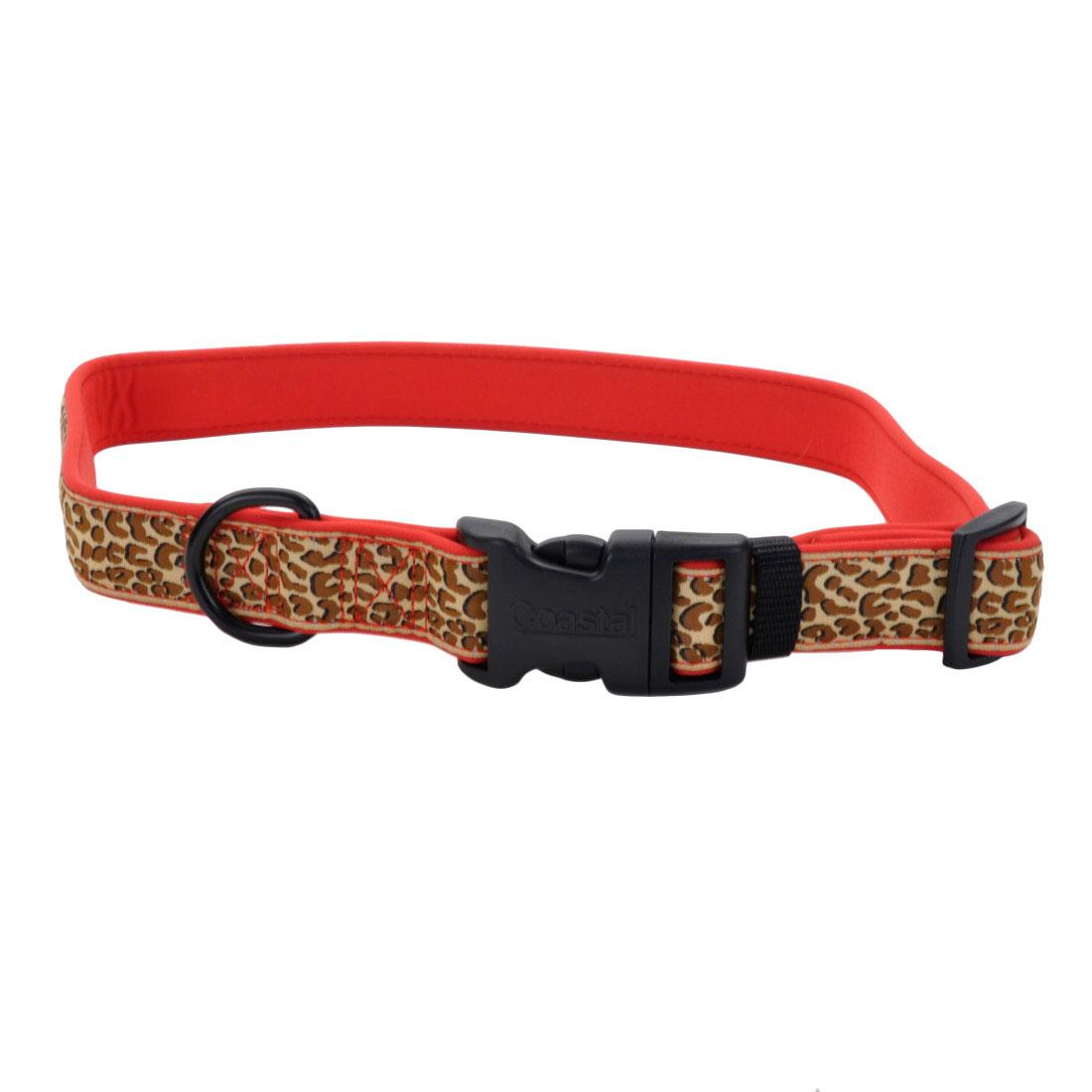 Ribbon Weave Dog Collar, Brown Leopard on Red Image
