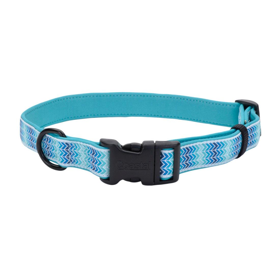 Ribbon Weave Dog Collar, Teal Gradient Chevrons Image