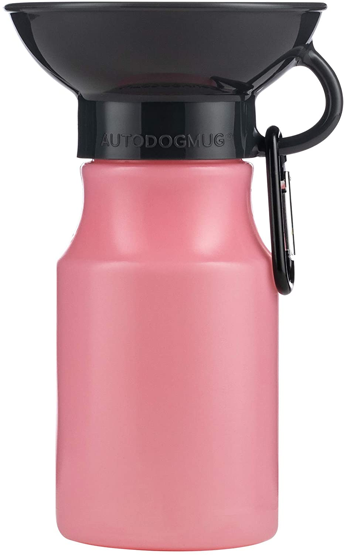 Highwave AutoDOGMug Leak-Tight Portable Dog Water Bottle & Bowl, Soft Pink