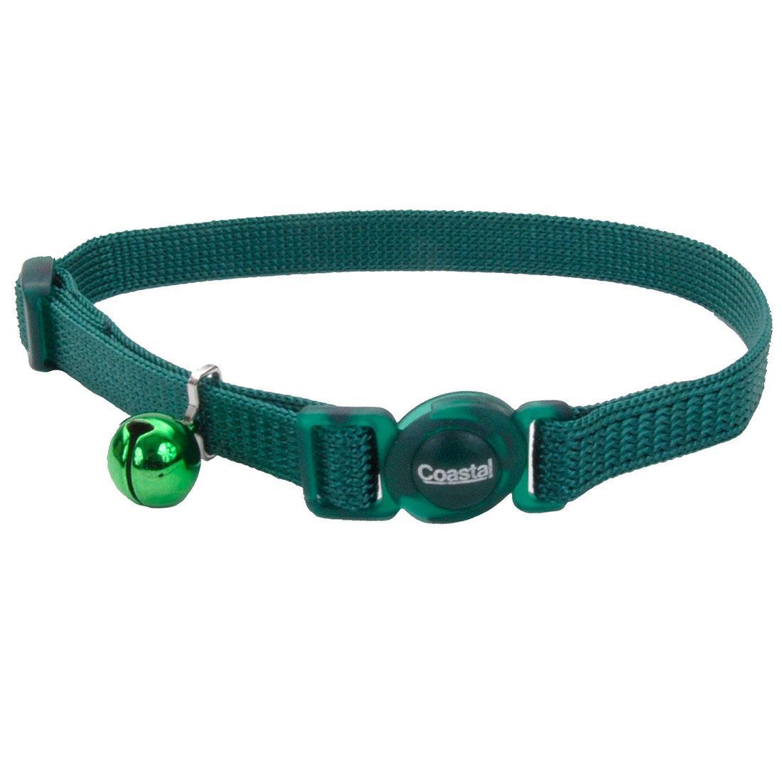 Safe Cat Adjustable Snag-Proof Breakaway Cat Collar, Hunter, 3/8-in x 8-12-in