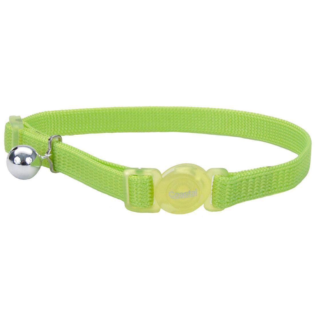 Safe Cat Adjustable Snag-Proof Breakaway Cat Collar, Lime, 3/8-in x 8-12-in