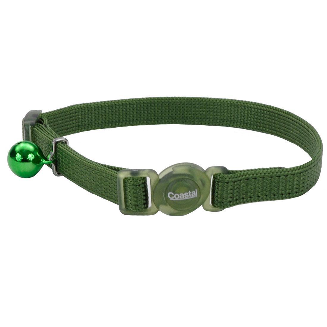 Safe Cat Adjustable Snag-Proof Breakaway Cat Collar, Palm Green, 3/8-in x 8-12-in
