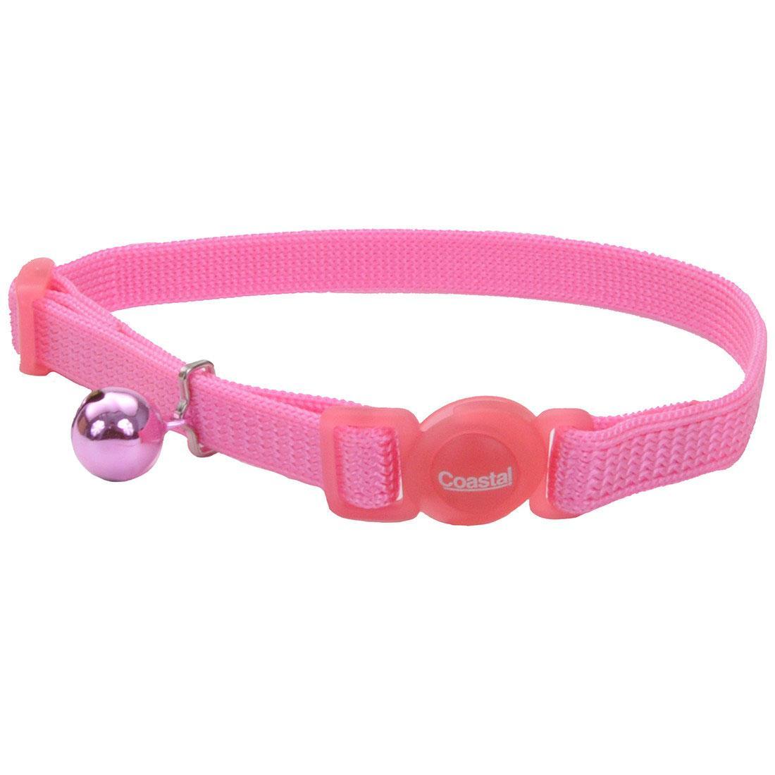 Safe Cat Adjustable Snag-Proof Breakaway Cat Collar, Pink Bright, 3/8-in x 8-12-in