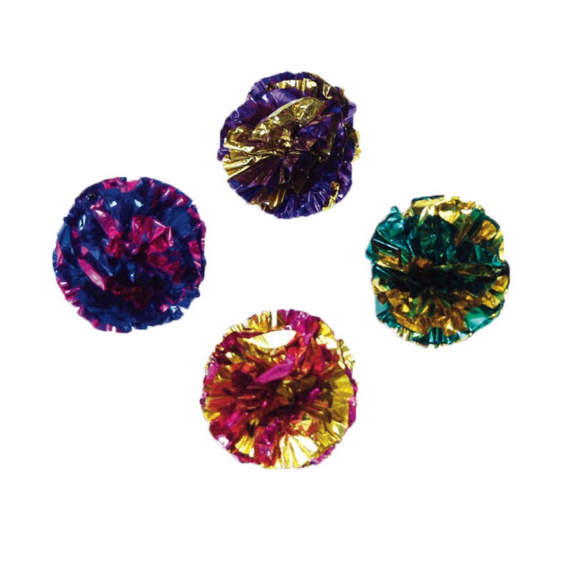 Turbo Krinkle Ball Cat Toy, Assorted Colors, 4-pk