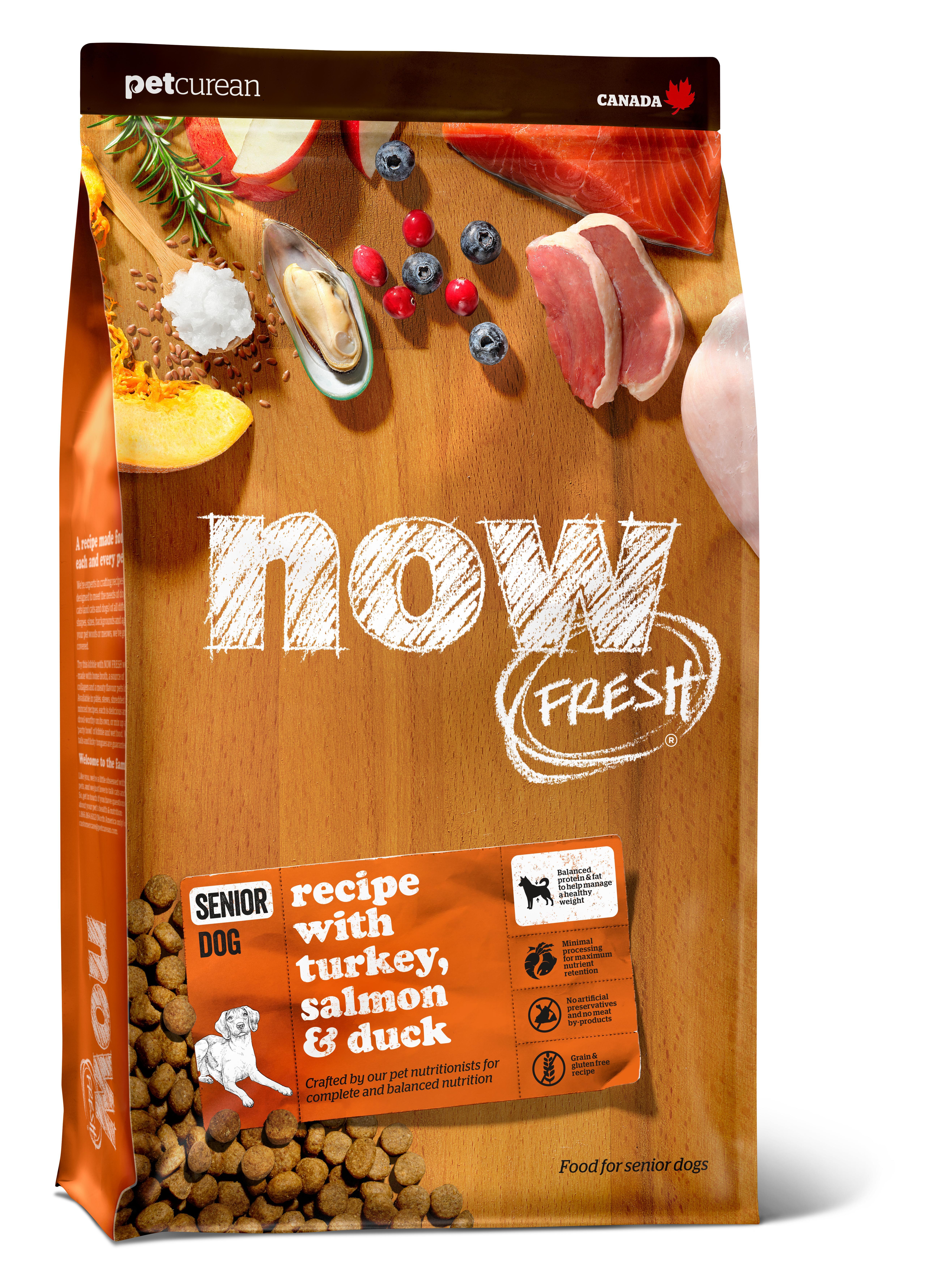 NOW FRESH Turkey, Salmon & Duck Senior Grain-Free Dry Dog Food, 22-lb