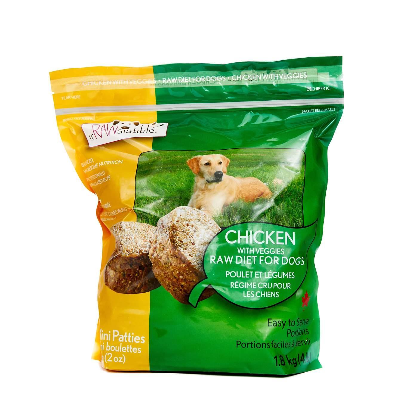 IrRAWsistible Boneless Chicken Mini Patties Frozen Dog Food, 1.8-kg
