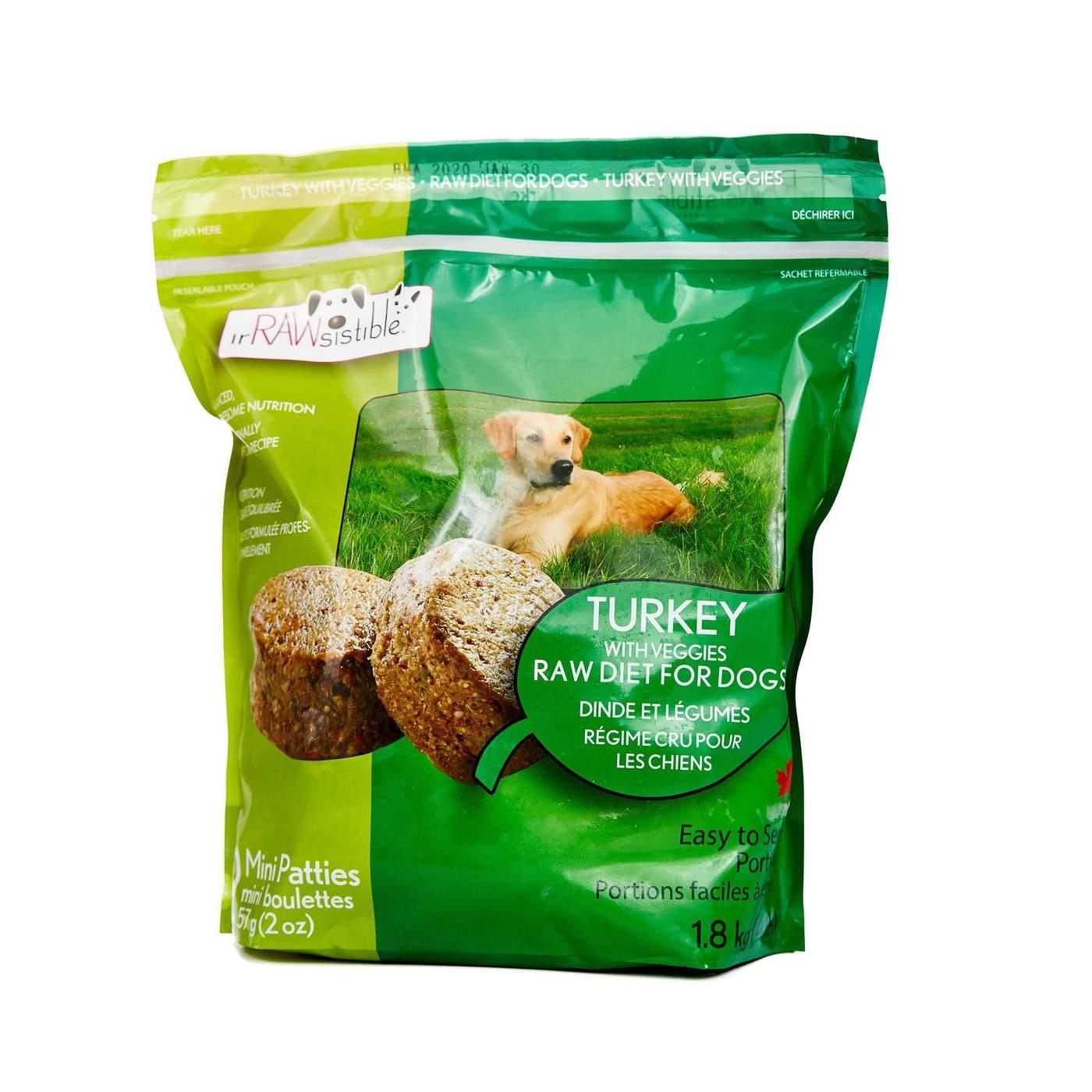 IrRAWsistible Boneless Turkey Mini Patties Frozen Dog Food, 1.8-kg