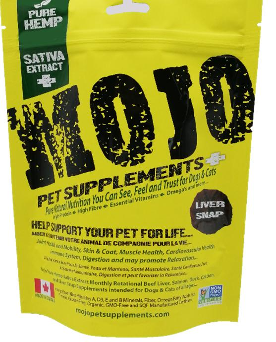 Mojo Pet Supplements H Sativa Extract Nutraceutical Liver Snap Dog Supplement, 2.21-oz