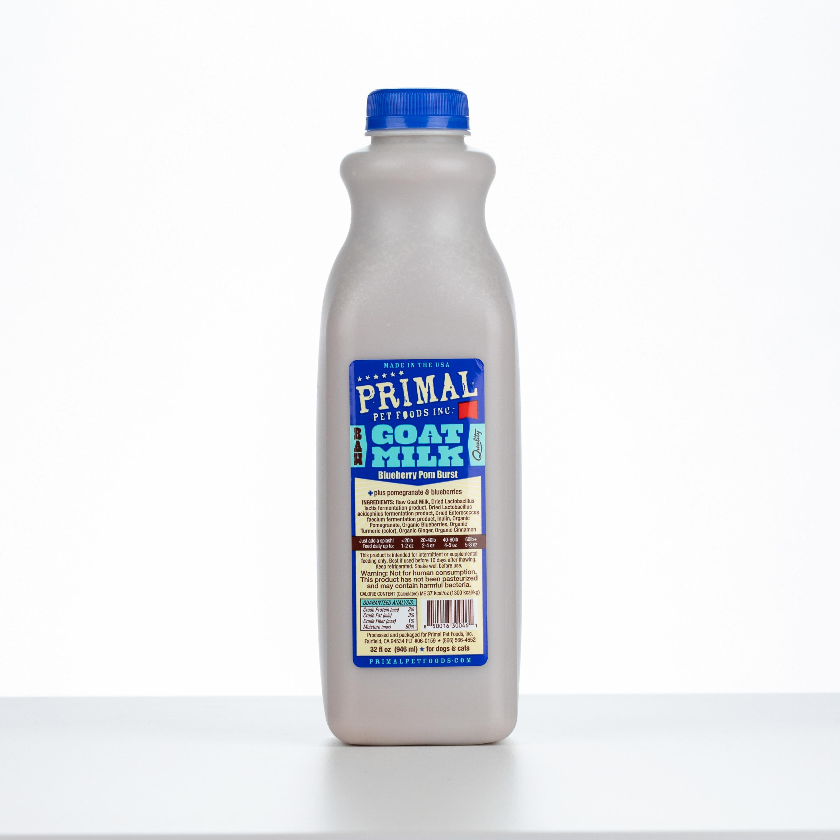 Primal Raw Frozen Goat Milk 'Blueberry Pom Burst' for Dogs & Cats, 32-oz