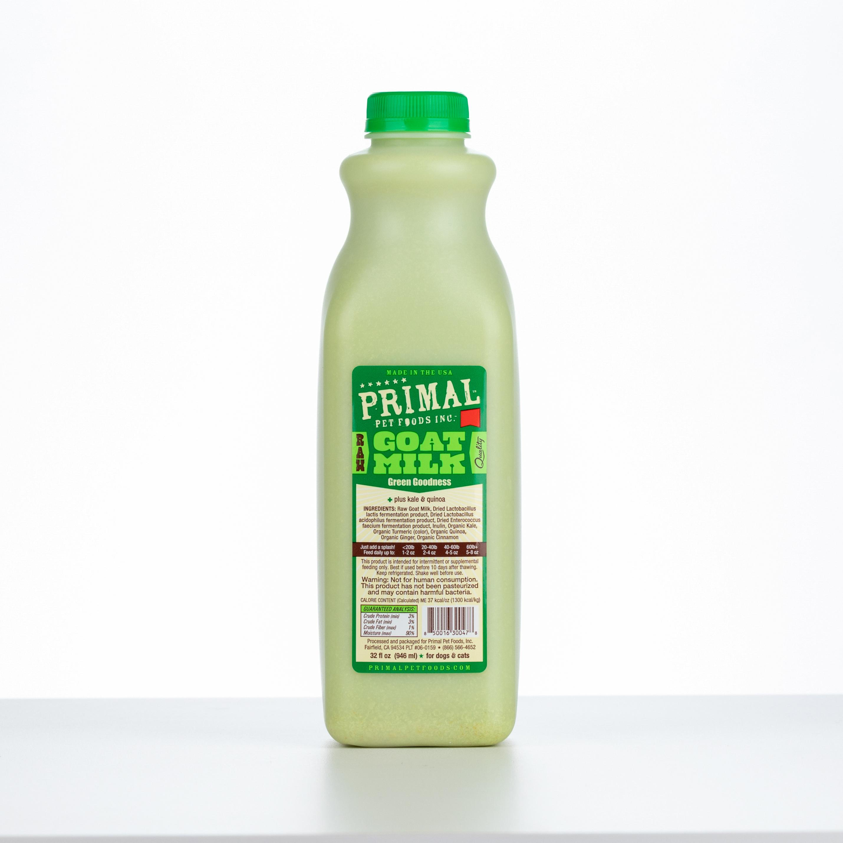Primal Raw Frozen Goat Milk 'Green Goodness' for Dogs & Cats, 32-oz