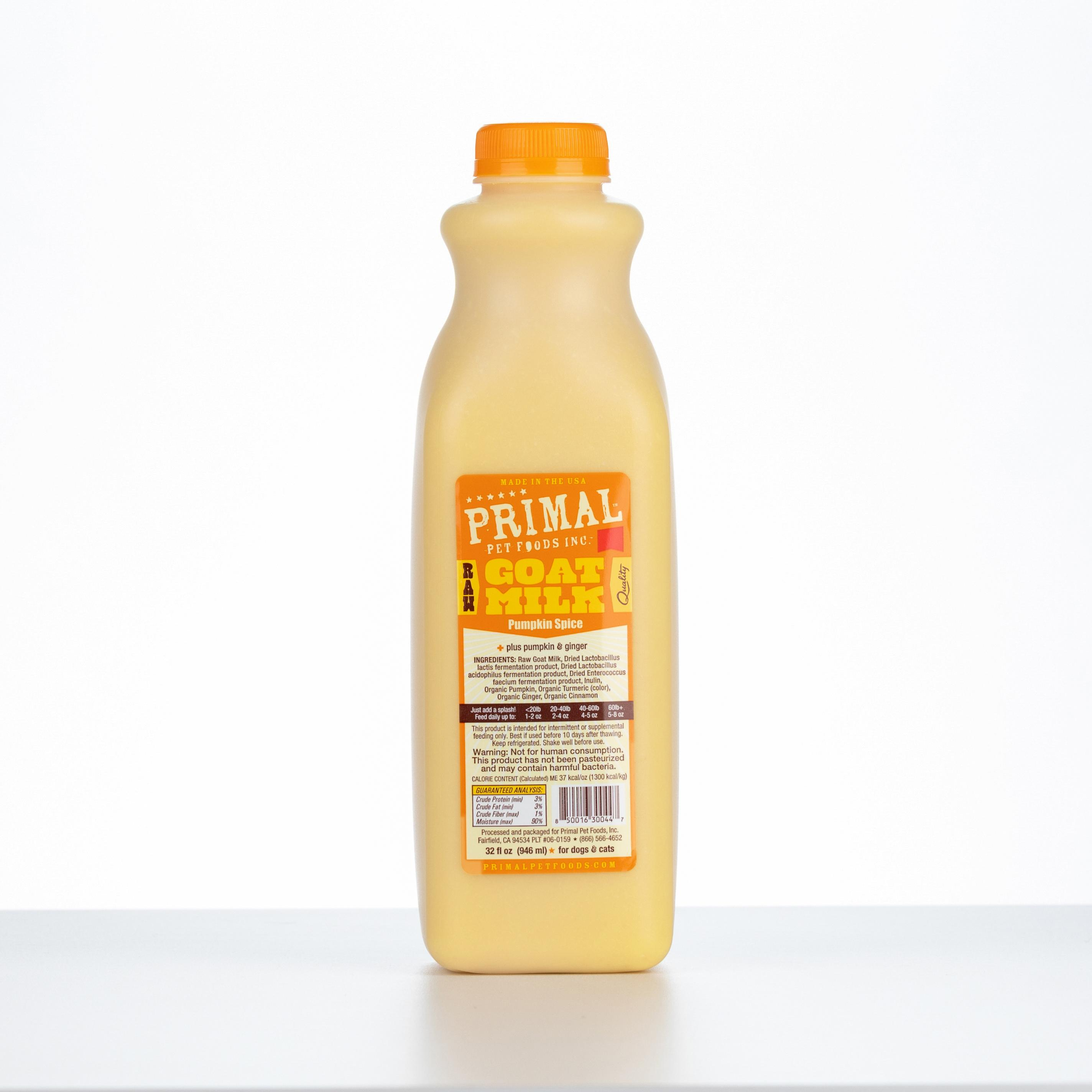 Primal Raw Frozen Goat Milk 'Pumpkin Spice' for Dogs & Cats, 32-oz