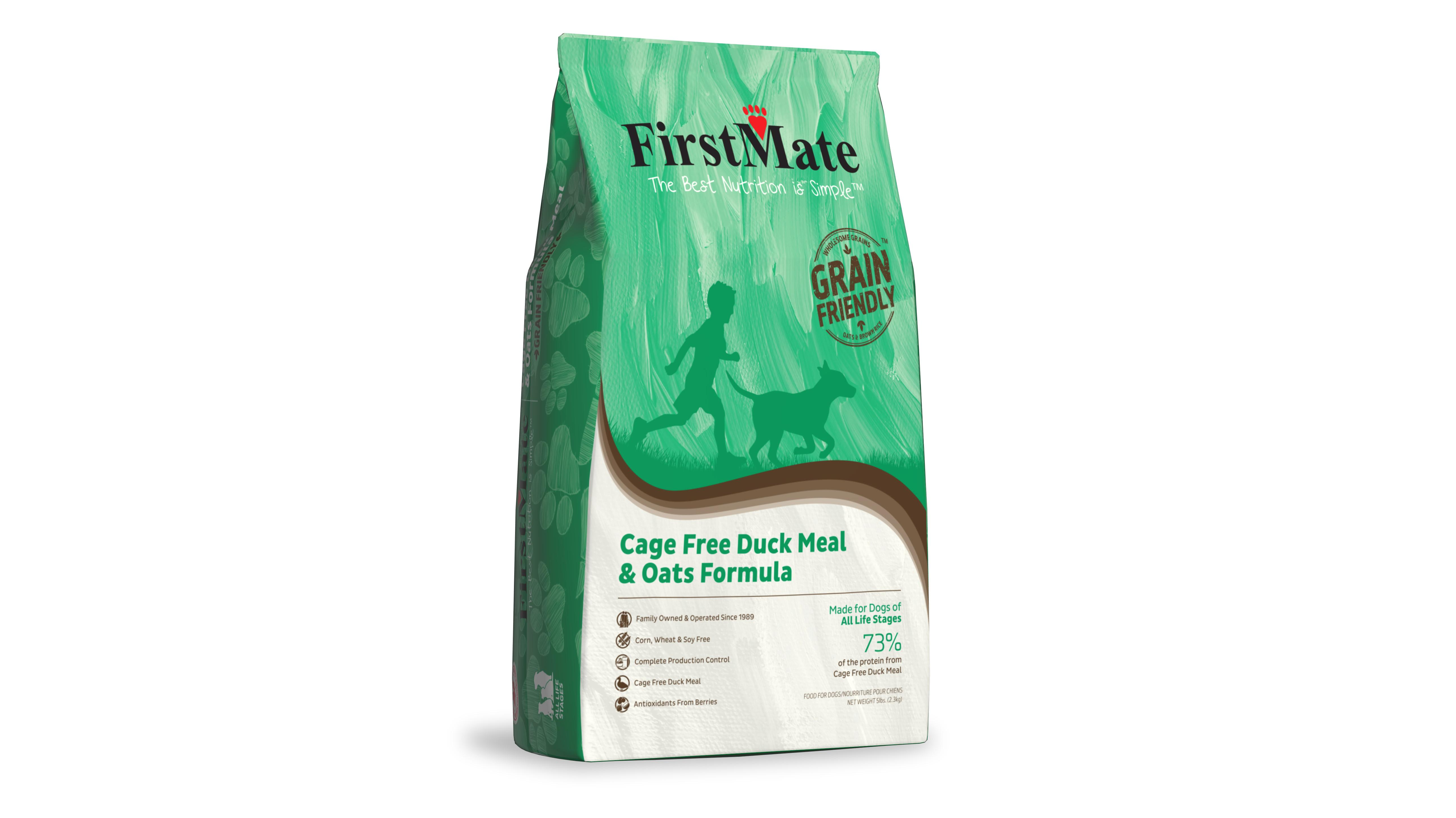 FirstMate Cage-Free Duck Meal & Oats Grain Friendly Dry Dog Food, 5-lb