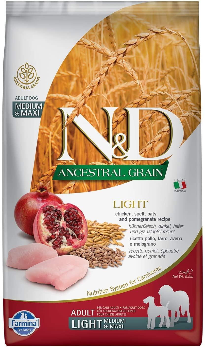 Farmina N&D Ancestral Grain Chicken & Pomegranate Light Medium & Maxi Dry Dog Food, 26.4-lb