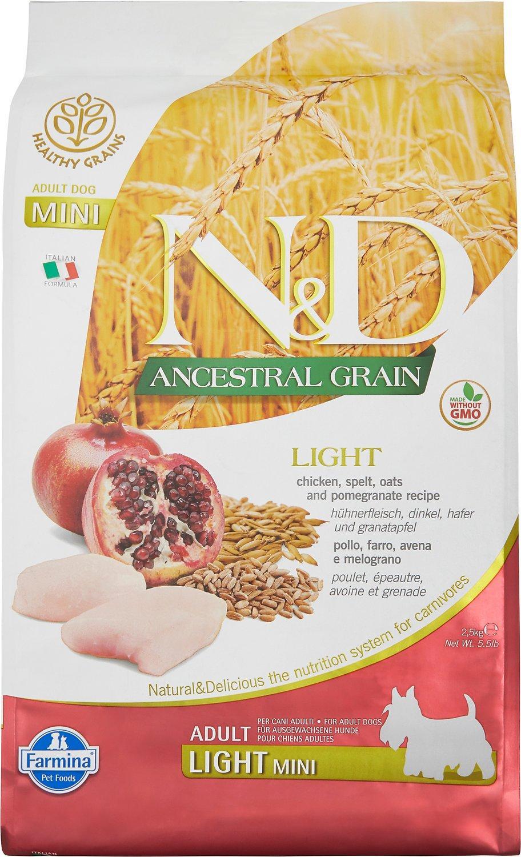 Farmina N&D Ancestral Grain Chicken & Pomegranate Light Mini Dry Dog Food Image