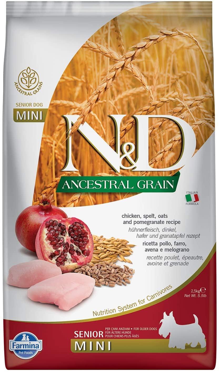 Farmina N&D Ancestral Grain Chicken & Pomegranate Senior Mini Dry Dog Food, 5.5-lb