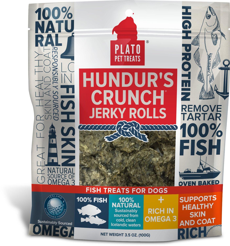 Plato Hundur's Crunch Fish Jerky Rolls Dog Treats, 3.5-oz