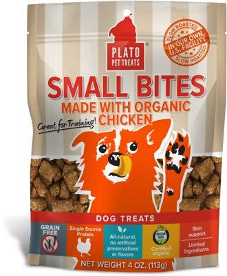 Plato Small Bites Organic Chicken Dog Treats, 4-oz bag