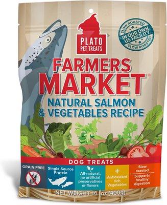 Plato Farmers Market Salmon & Vegetables Grain-Free Dog Treats, 14.1-oz bag