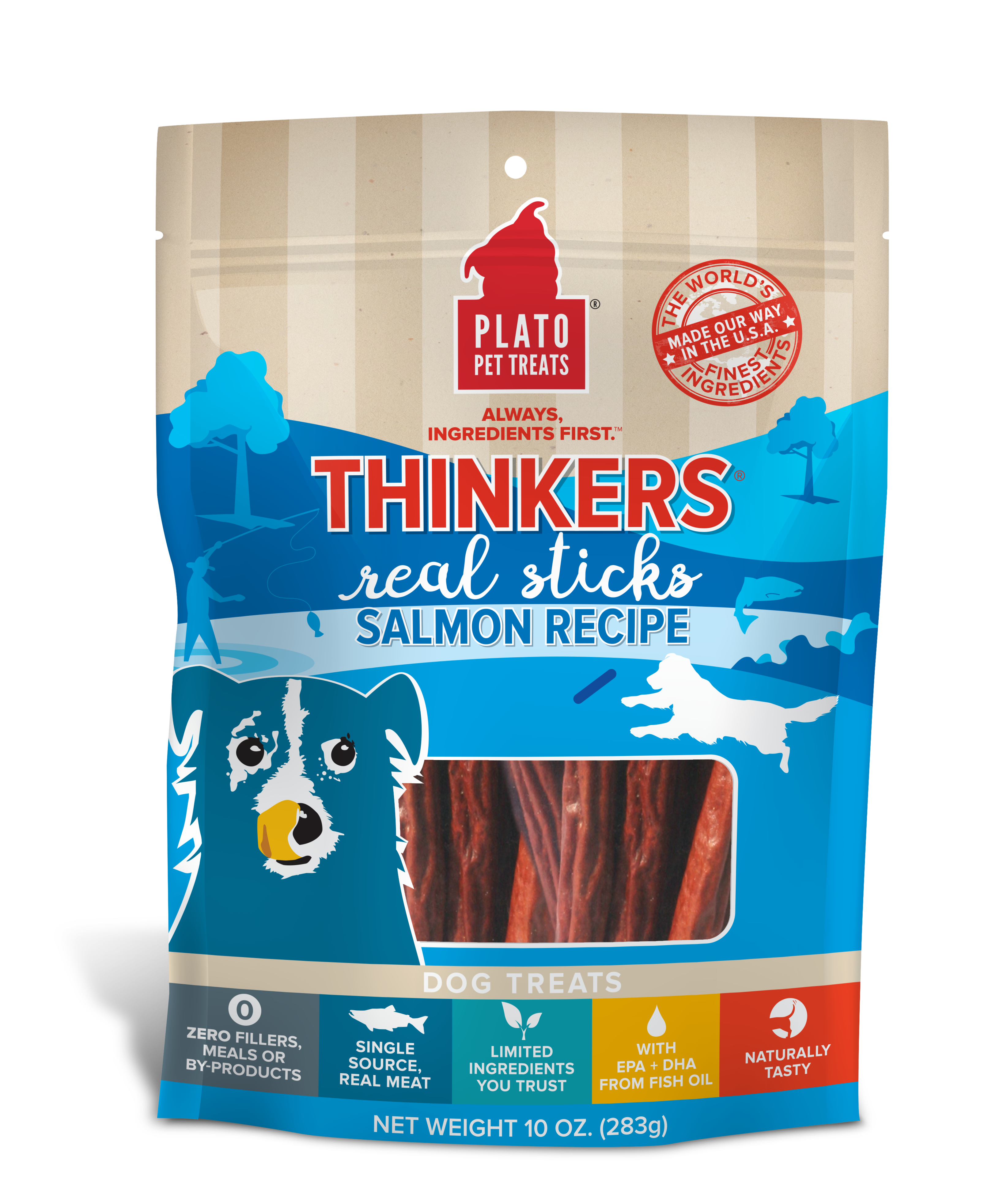 Plato Thinkers Salmon Recipe Dog Treats, 10-oz bag