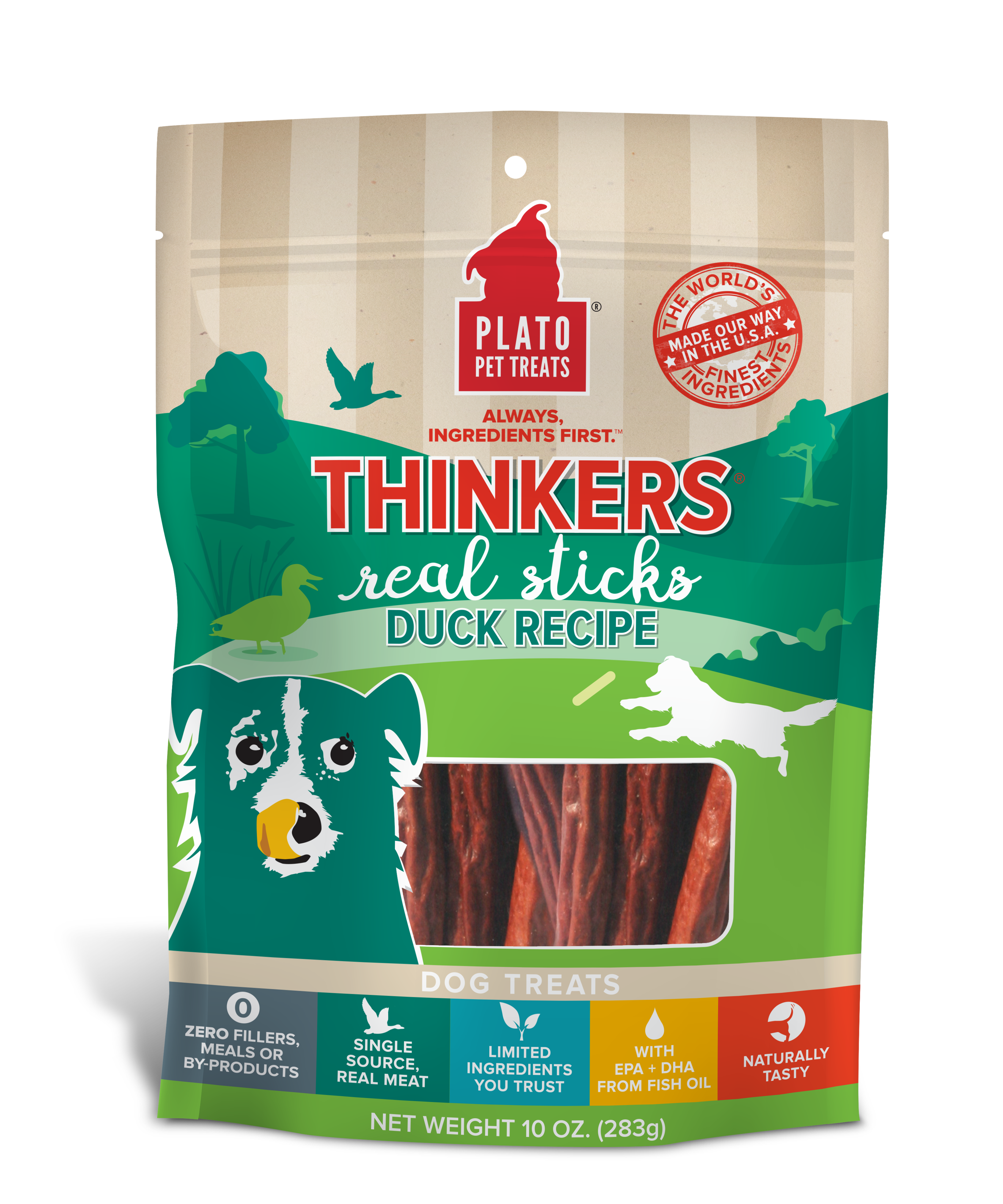 Plato Thinkers Duck Recipe Dog Treats, 10-oz bag