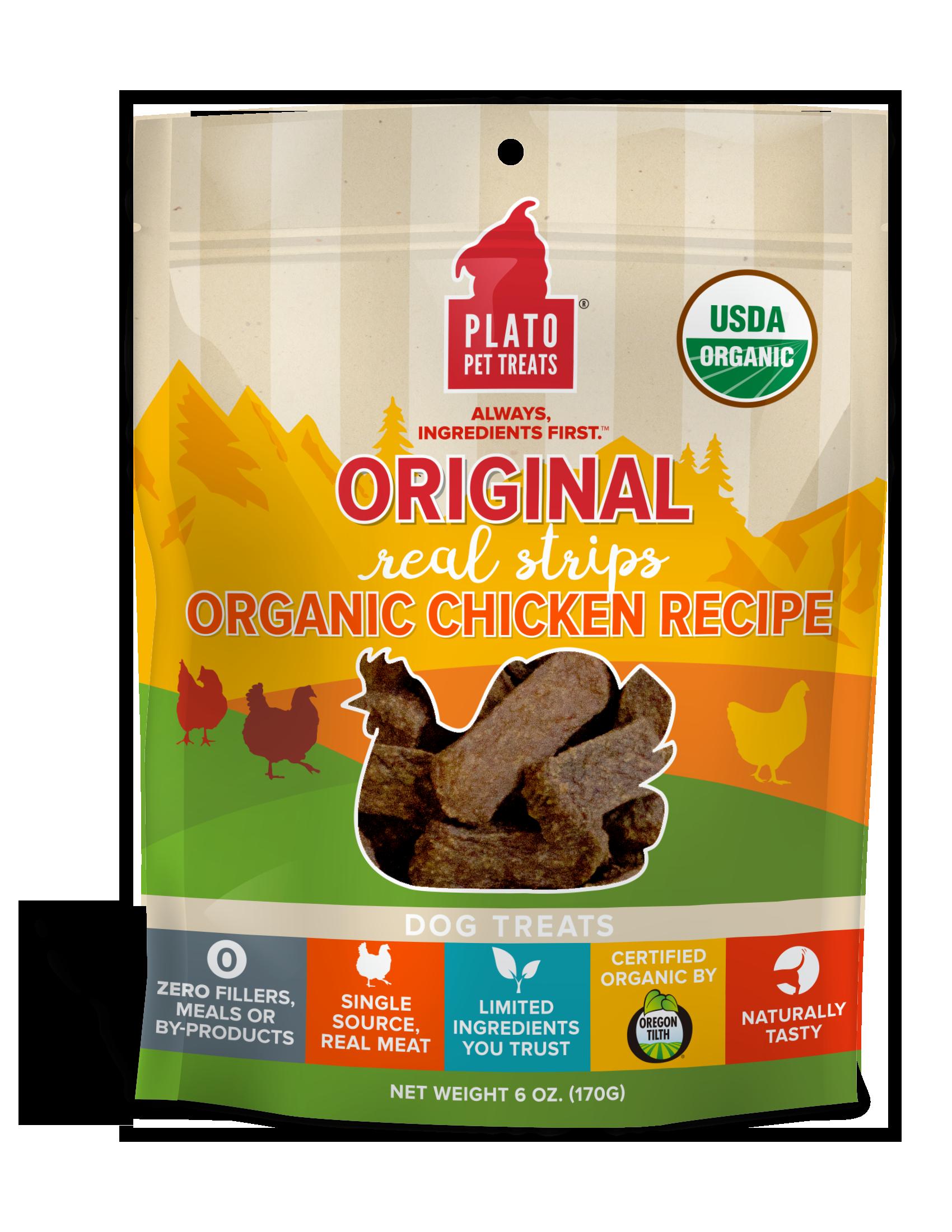 Plato Original Real Strips Organic Chicken Recipe Dog Treats, 6-oz bag