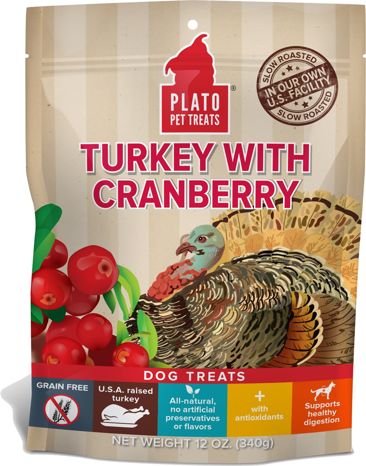 Plato Real Strips Turkey With Cranberry Dog Treats Image