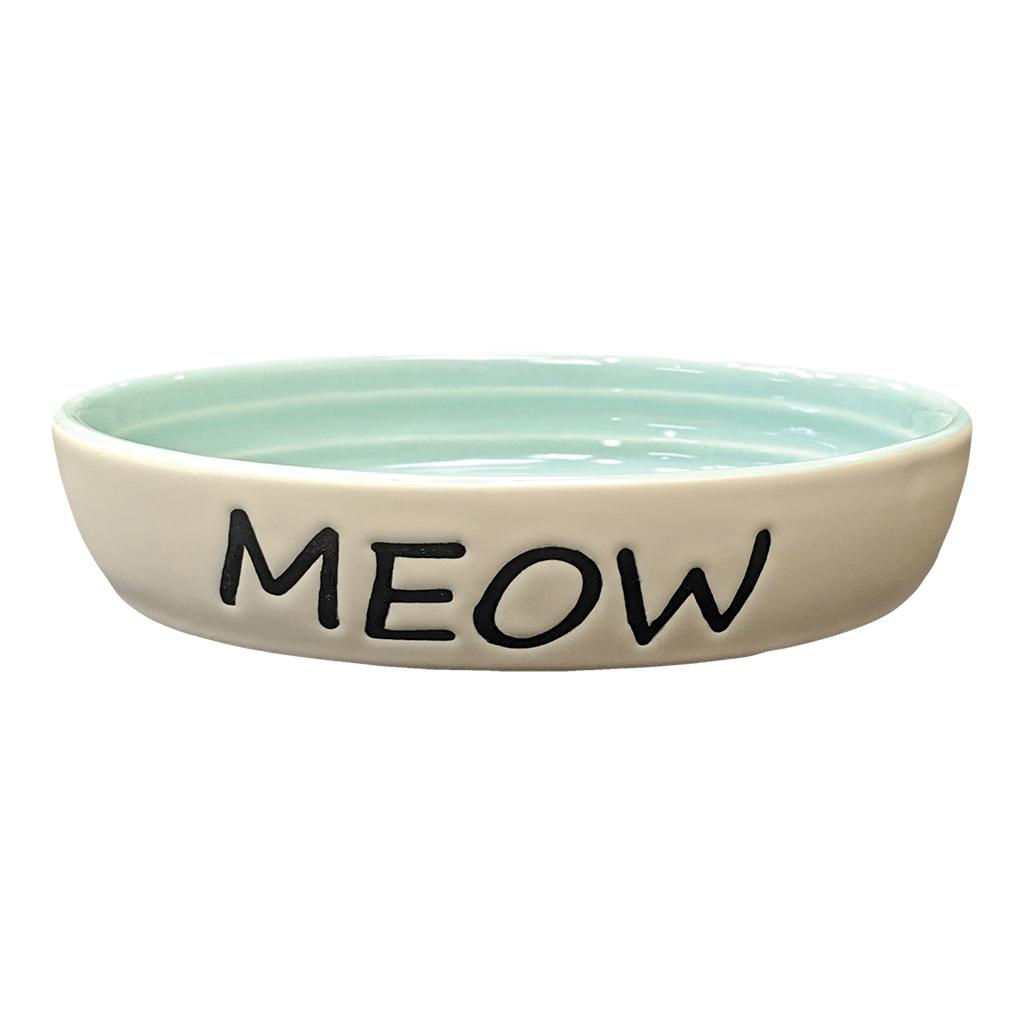 Ethical Pet Meow Oval Cat Dish, Green, 6-in