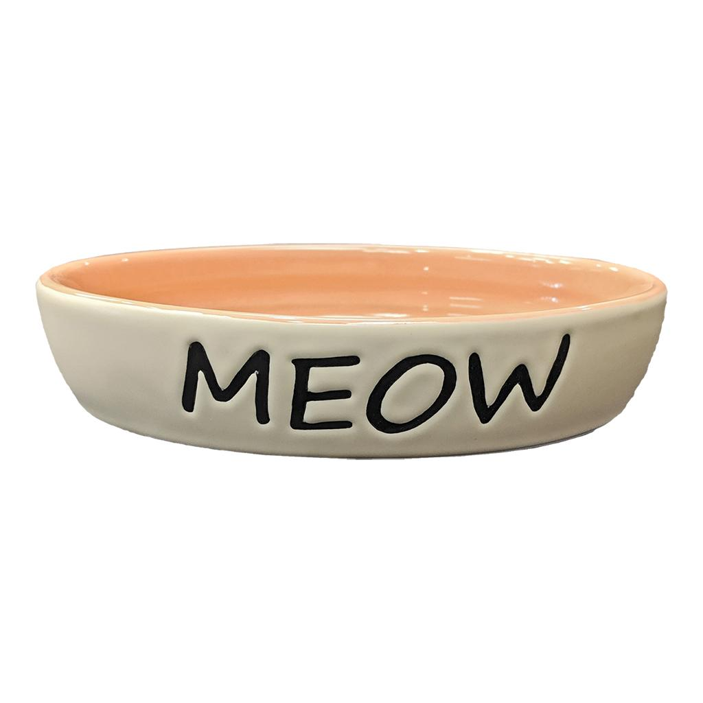 Ethical Pet Meow Oval Cat Dish, Coral, 6-in