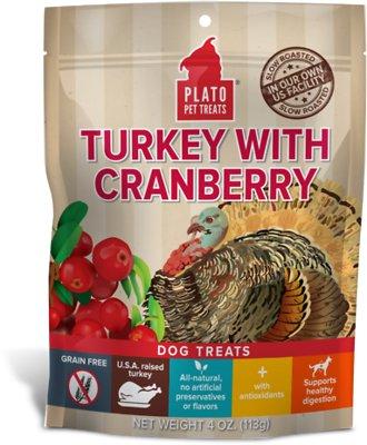 Plato Real Strips Turkey With Cranberry Dog Treats, 4-oz bag
