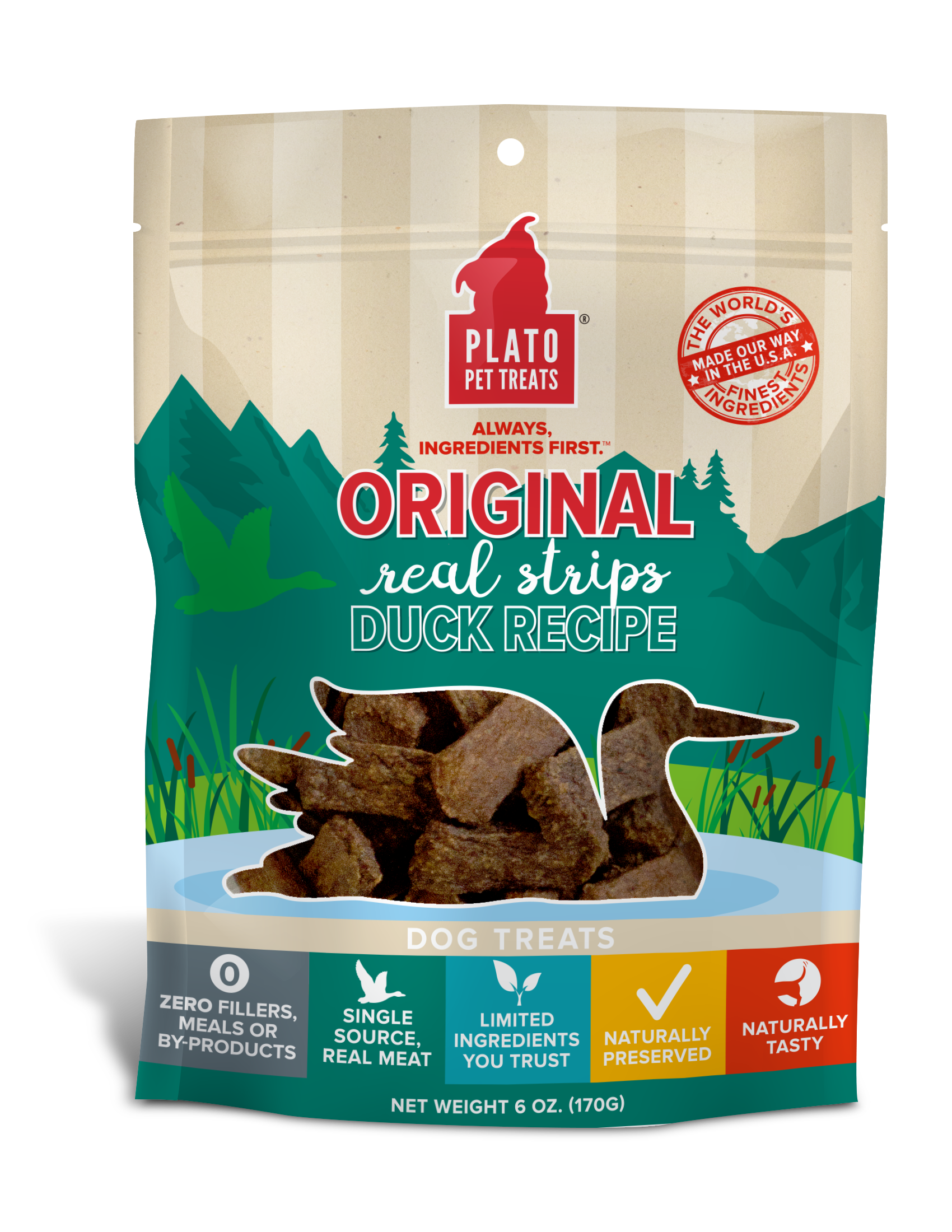 Plato Original Real Strips Duck Recipe Dog Treats, 6-oz bag