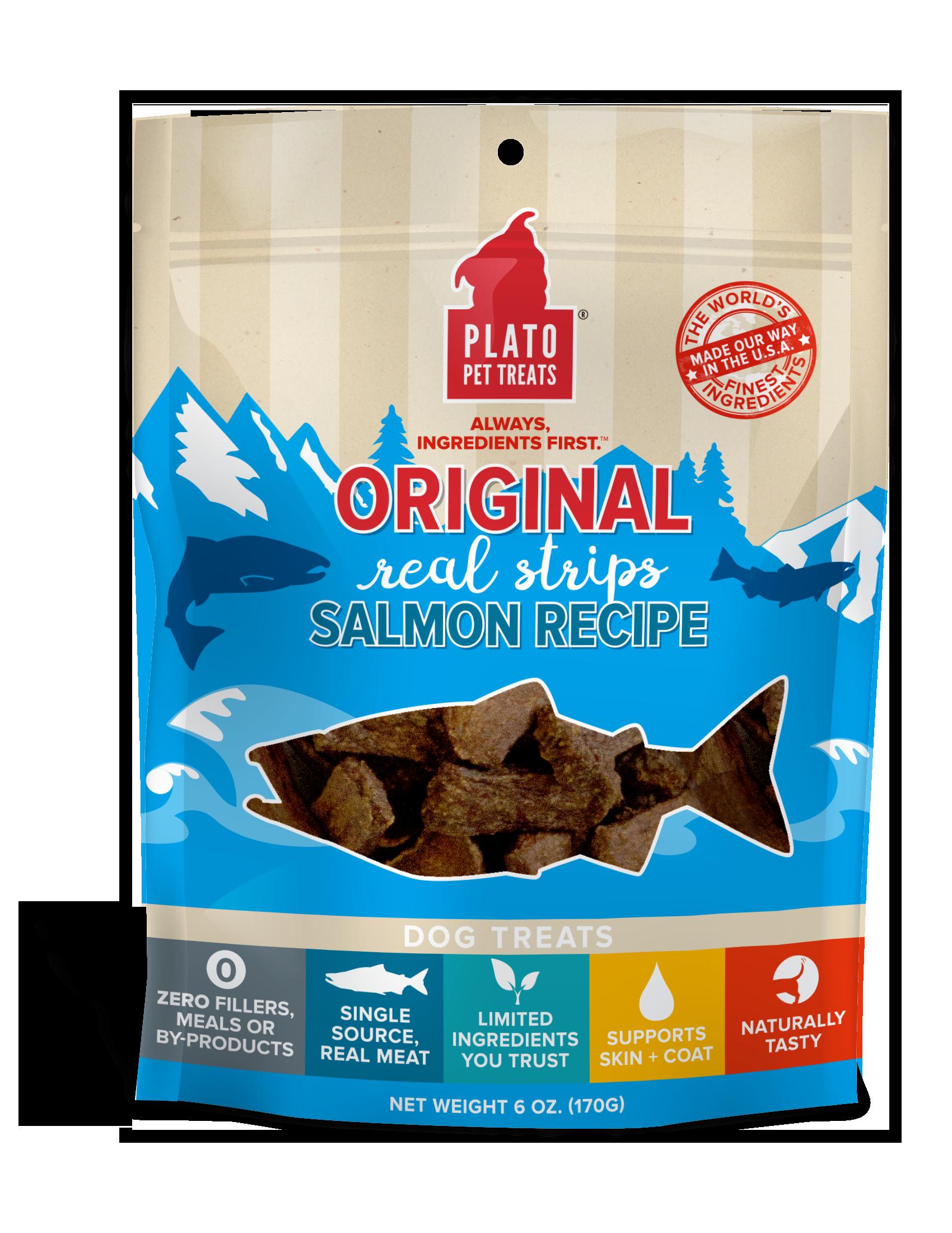Plato Original Real Strips Salmon Recipe Dog Treats, 6-oz bag