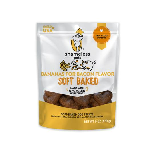 Shameless Pets Bananas for Bacon Soft Baked Biscuit Dog Treats, 6-oz