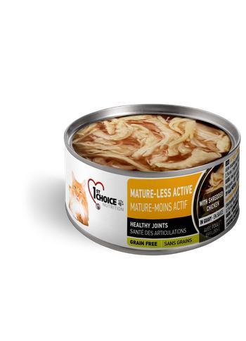 1st Choice Nutrition Mature-Less Active Shredded Chicken Senior Wet Cat Food, 3-oz