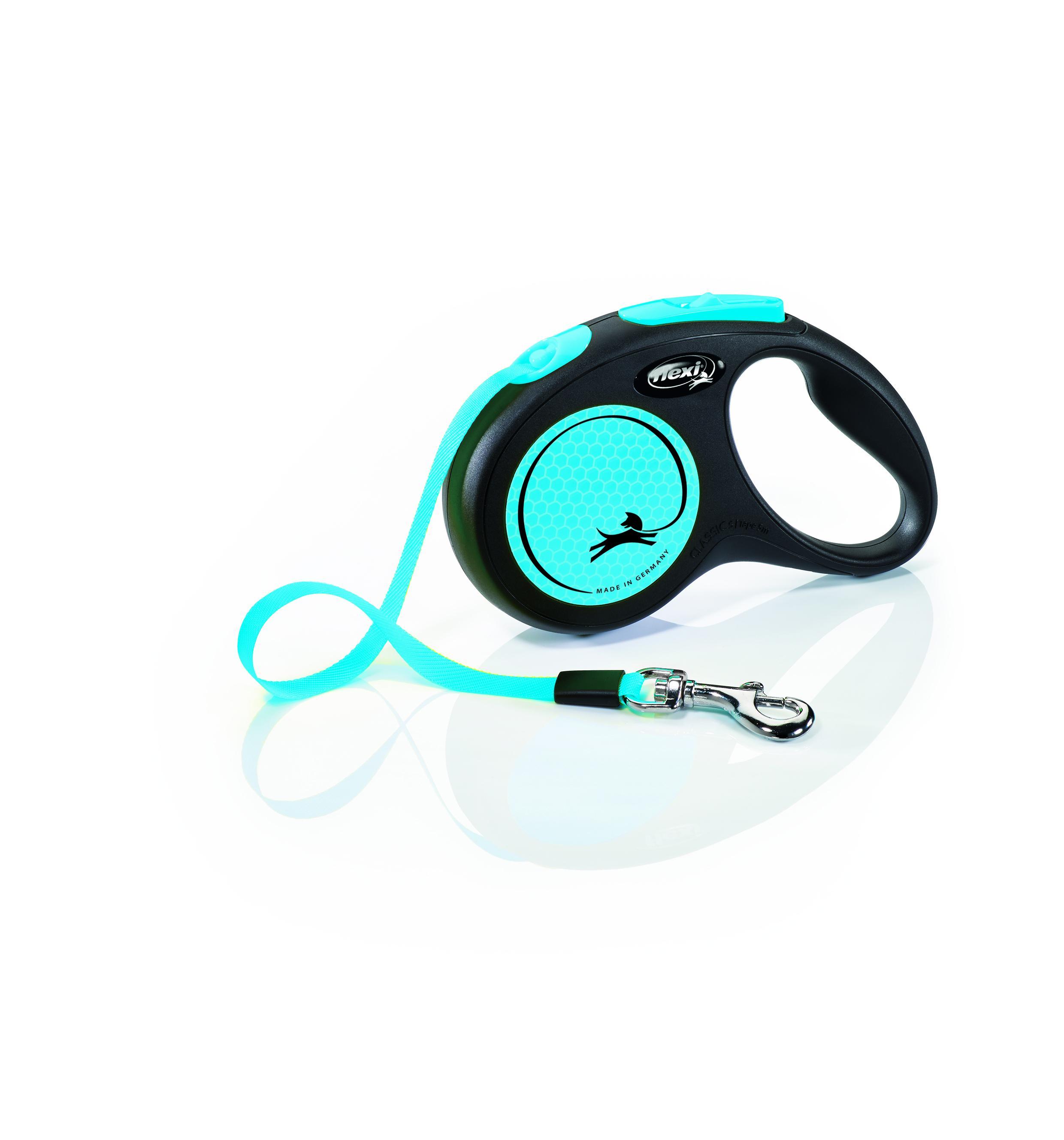 Flexi New Neon Tape Dog Leash, Black/Blue, Small, 16-ft