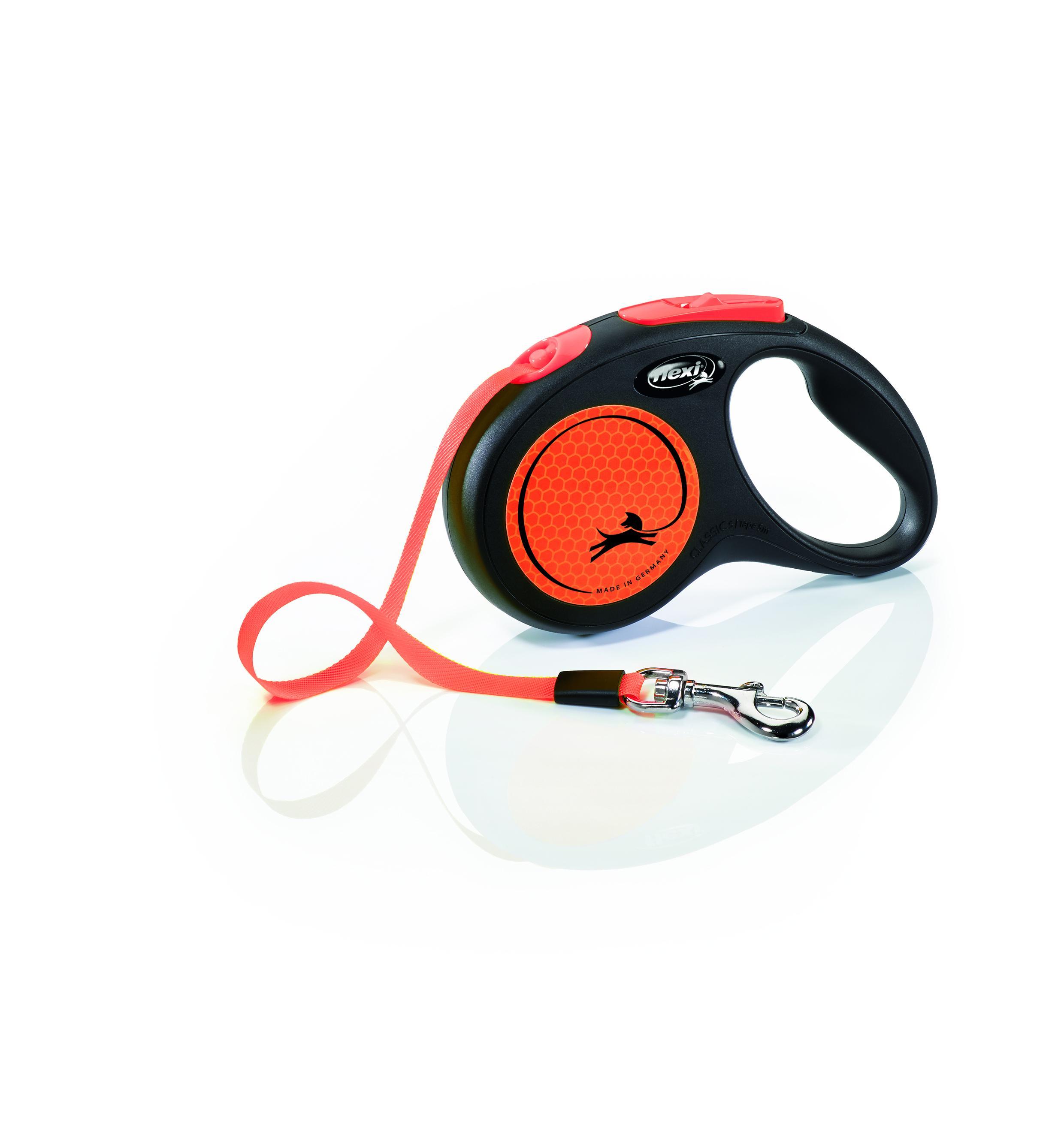 Flexi New Neon Tape Dog Leash, Black/Orange, Small, 16-ft
