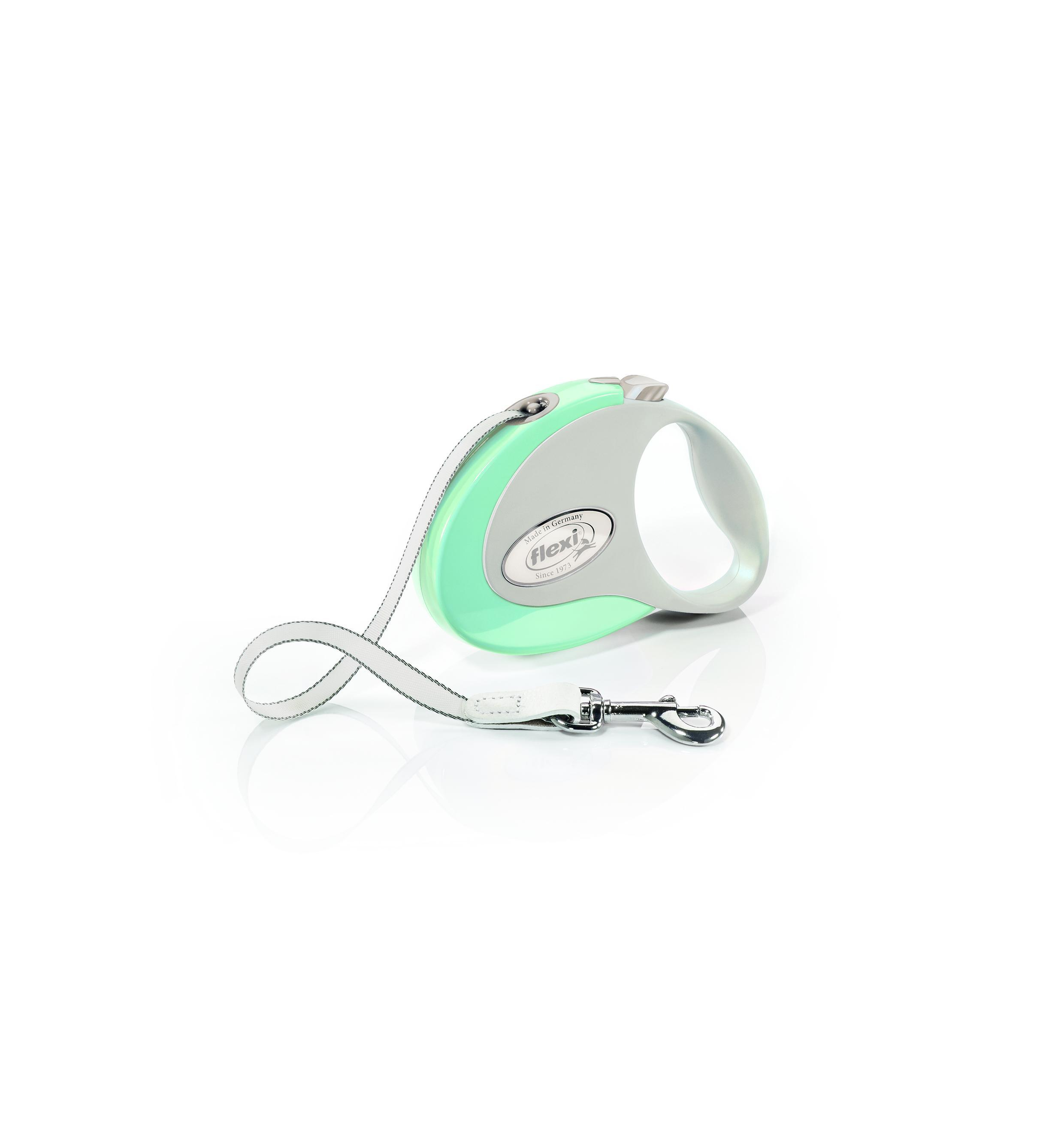 Flexi New Style Tape Dog Leash, Mint/Gray, Small, 10-ft