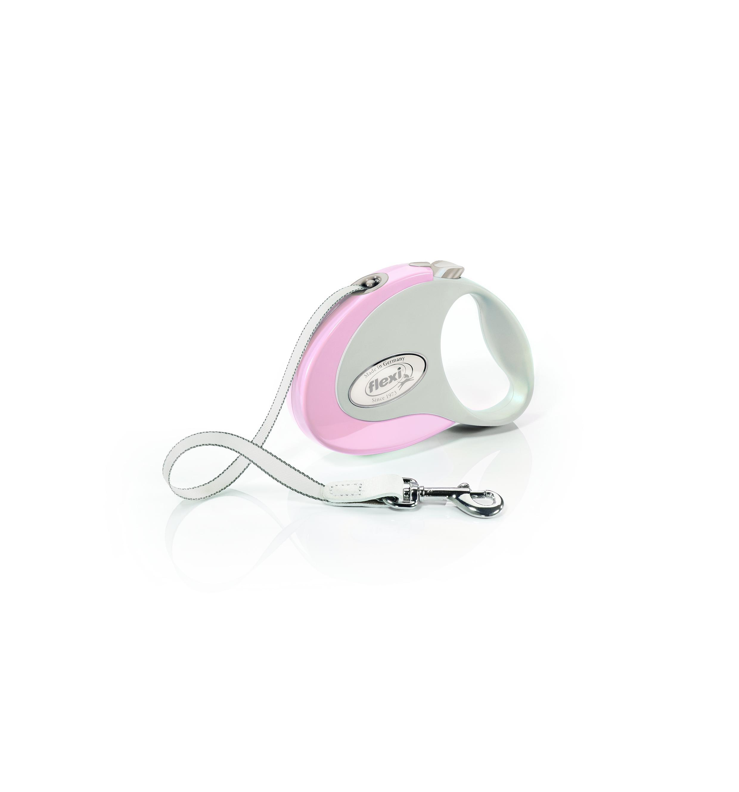 Flexi New Style Tape Dog Leash, Rose/Gray, Small, 10-ft