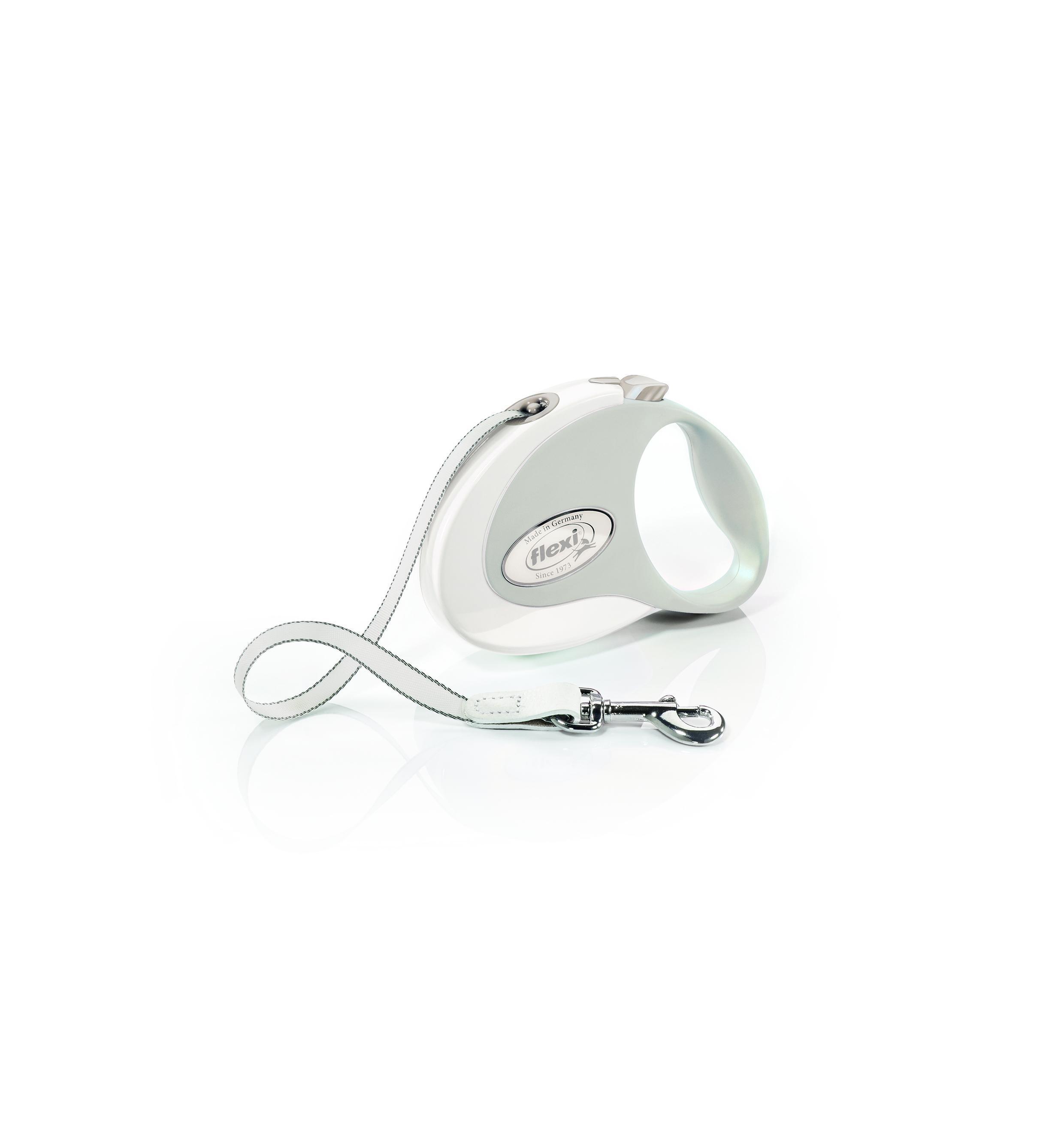Flexi New Style Tape Dog Leash, White/Gray, Medium, 10-ft
