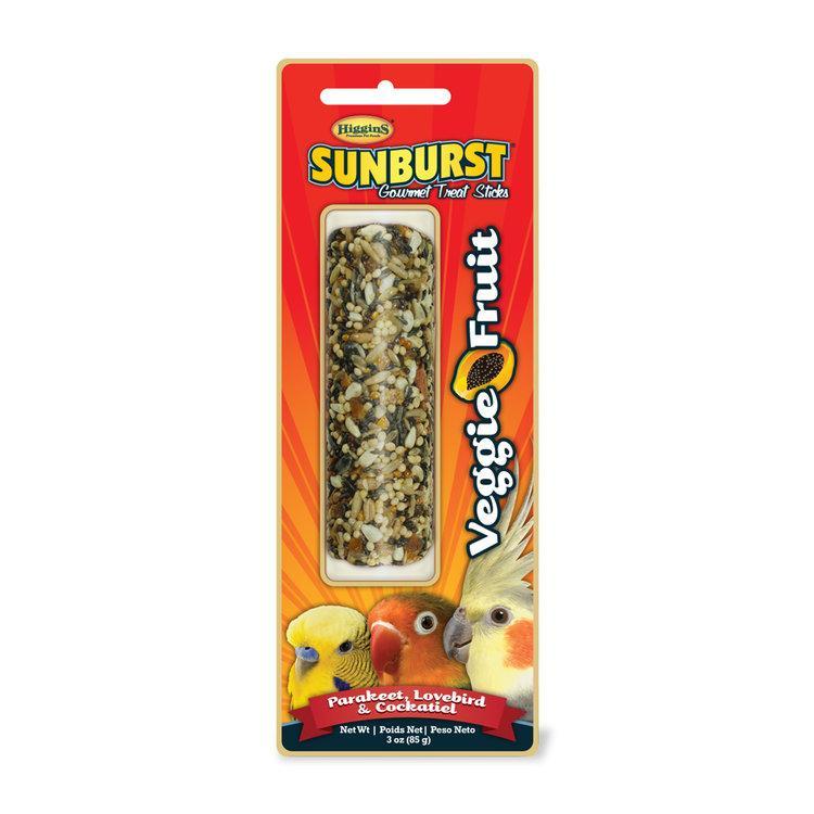 Higgins Sunburst Veggie Fruit Sticks Parakeet, Lovebird & Cockatiel Bird Treats, 3-oz