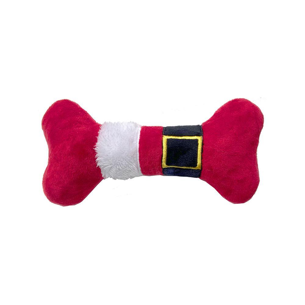 Lulubelles Power Plush Santa Suit Bone Dog Toy, Small