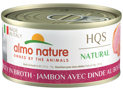 Almo Nature HQS Natural Grilled Turkey in Broth Wet Cat Food, 2.47-oz